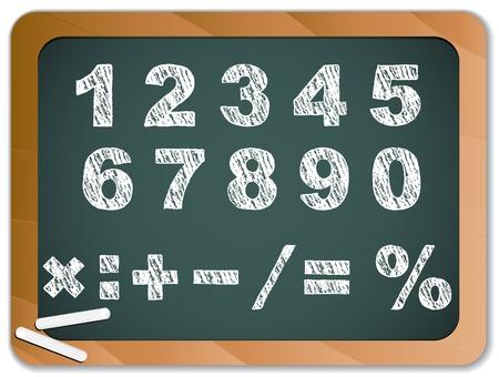 chalk writing: Chalk Numbers on Blackboard Illustration