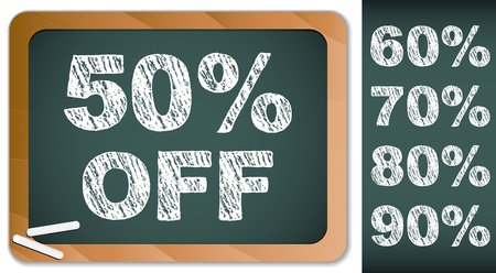 Sale Percentages on Blackboard with Chalk. Other percentages in my portfolio. Vector