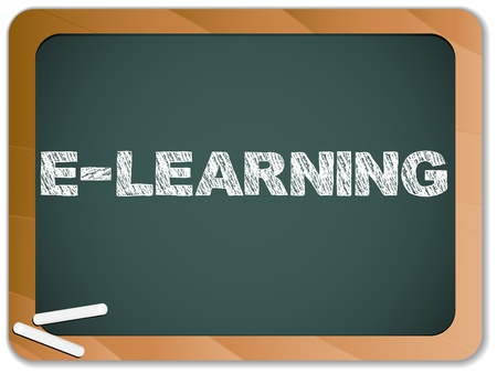 Blackboard with E-learning Message written with Chalk Vector