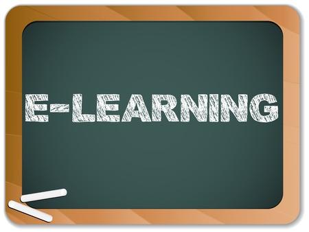 Pizarra con aprendizaje mensaje escrito con tiza Ilustración de vector