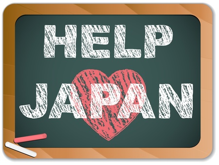 disaster relief: Japan Love on Blackboard. Earthquake and Tsunami Design