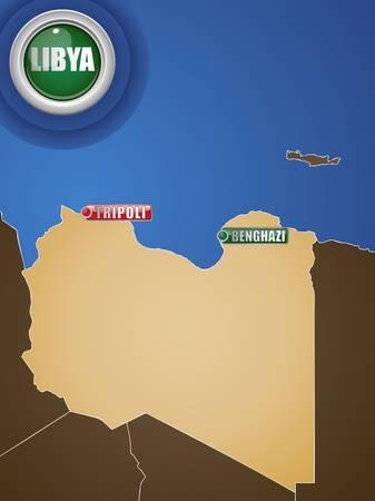 libyan: Libya War Map with Cities Tripoli and Benghazi