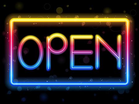Open Neon Sign Rainbow Color Stock Vector - 9177287