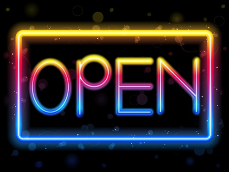 Open Neon Sign Rainbow Color Stock Vector - 9177287
