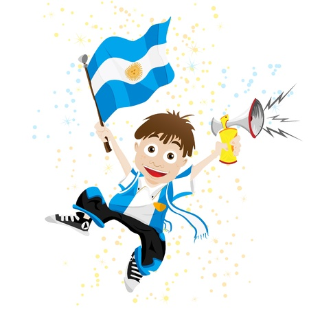 argentina flag: Argentina Sport Fan with Flag and Horn