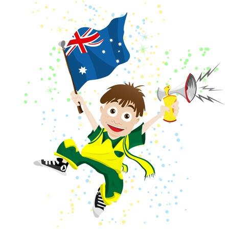 white fan: Australia Sport Fan with Flag and Horn