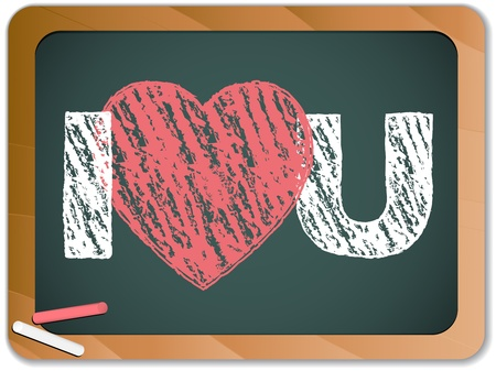true love: Blackboard with I Love Heart You Message written with Chalk Illustration