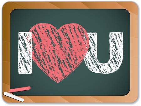 Pizarra con I Love corazón le mensaje escrito con tiza