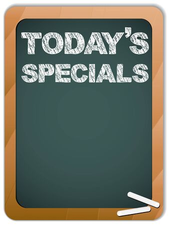 Vector - Blackboard with Today's Specials Message written with Chalk Stock Vector - 9227944