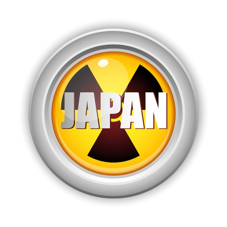 nuclear disaster:  Japan Nuclear Disaster Yellow Button Illustration