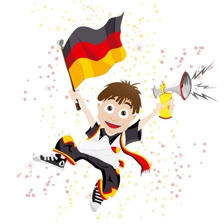 white fan: Germany Sport Fan with Flag and Horn Illustration