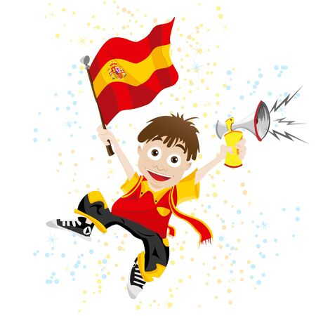 Spain Sport Fan with Flag and Horn Stock Vector - 9227935