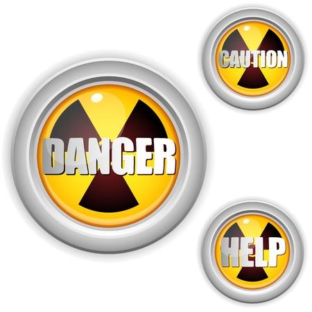 uranium:  Radioactive Danger Yellow Button. Caution Radiation