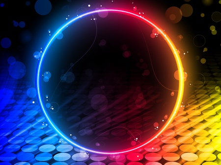 rainbow circle: Vector - Disco Abstract Circle Box on Black Background