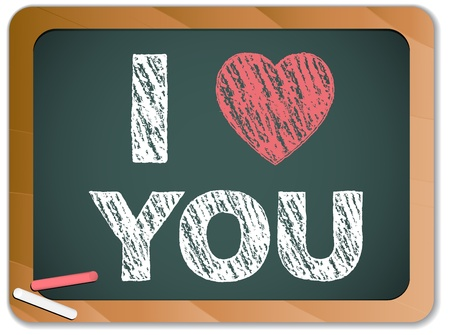 love symbol: Vector - Blackboard with I Love Heart You Message written with Chalk