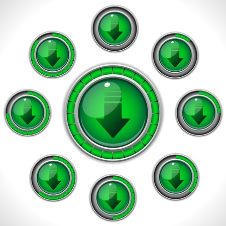Vector - Download Shiny Green Button with Bars Vector