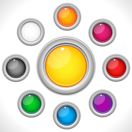 Vector - Set of 9 Colorful Glossy Buttons Stock Vector - 9349411