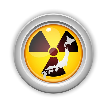 nuclear disaster: Vector - Japan Nuclear Disaster Yellow Button Illustration