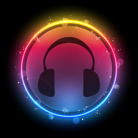 nightlife: Vector - Disco Headphones with Neon Rainbow Circle