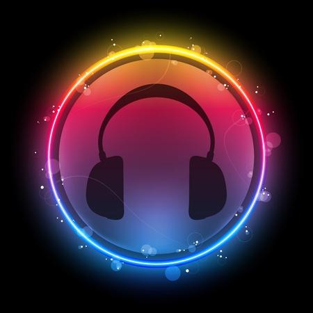 gay: Vektor - Disco Kopfh�rer mit Neon Rainbow Kreis