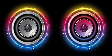 nightlife: Vector - Disco Speaker with Neon Rainbow Circle