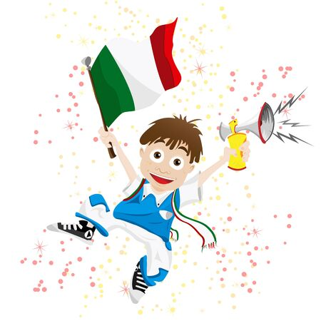 Vector - Italy Sport Fan with Flag and Horn Stock Vector - 9349406