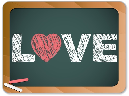 Vector - Blackboard with Love Heart Message written with Chalk Vector