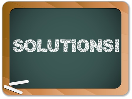 Vector - Blackboard with Solutions Message written with Chalk Stock Vector - 9399510