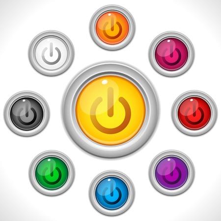 Vector - knoppen kleuren Web op uit Vector Illustratie