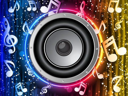 Vector - Disco Speaker with Music Notes in Neon Rainbow Circle Illustration