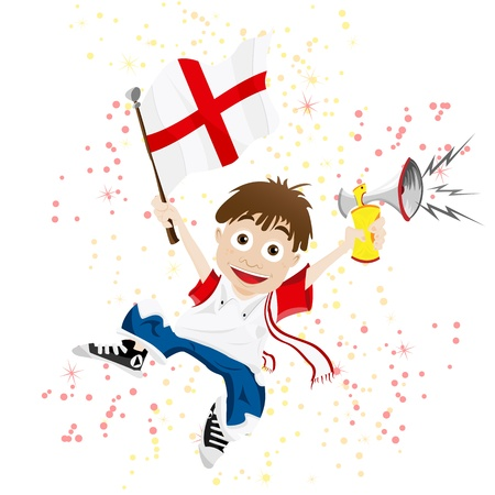 red fan: Vector - England Sport Fan with Flag and Horn
