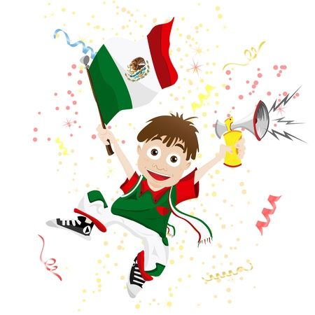 mexican boy: Vector - Mexico Sport Fan with Flag and Horn Illustration