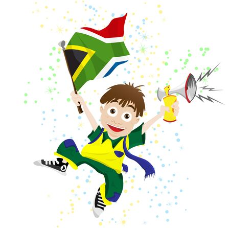 Vector - South Africa Sport Fan with Flag and Horn Stock Vector - 9399502
