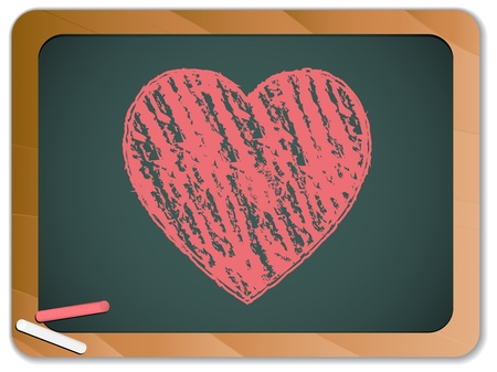 Vector - Blackboard with Heart  written with Chalk Vector