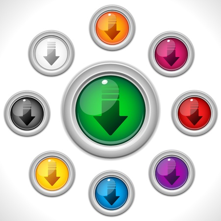 vector download: Vector - Download Shiny Colorful Web Button