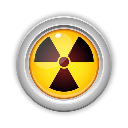 health hazard: Vector - Radioactive Danger Yellow Button. Caution Radiation