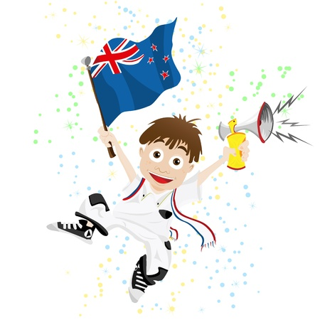 Vector - New Zealand Sport Fan with Flag and Horn Stock Vector - 9450273