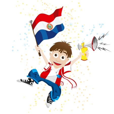 Vector - Paraguay Sport Fan with Flag and Horn Vector