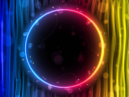 neon wallpaper: Vector - Disco Abstract Circle Box on Black Background