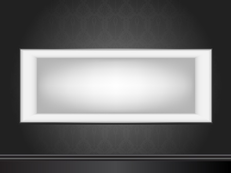 Vector - White frame on wall with seamless black wallpaper Vector