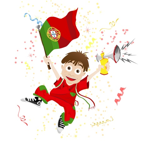portugal flag: Vector - Portugal Sport Fan with Flag and Horn Illustration