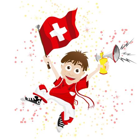 cross match: Vector - Switzerland Sport Fan with Flag and Horn