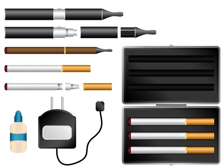 electronic devices: Vector - Electronic Cigarette Kit with Liquid, Charger and Case Illustration