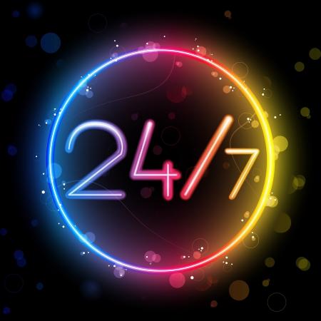gay: Vector - Neon 24  7 Rainbow Circle Illustration