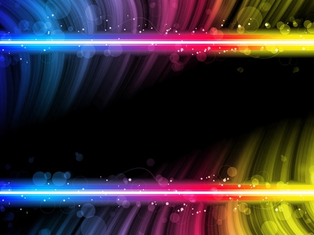 Vector - Disco Abstract Colorful Waves on Black Background Vector