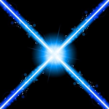 lineas horizontales: Vector - luces de ne�n de l�ser azul