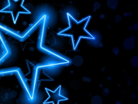 neon: Vector - Glowing Neon Blue Stars Background Illustration
