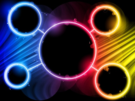Vector - Rainbow Circle Border with Sparkles and Swirls. Stock Vector - 9720038