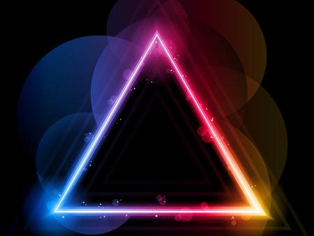 tri�ngulo: Vector - Rainbow tri�ngulo frontera con destellos y remolinos Vectores
