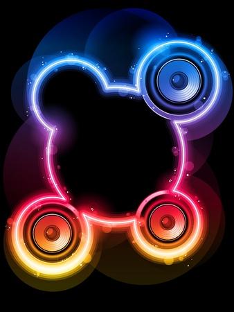 disk jockey: Discoteca Speaker con Neon Rainbow Circle Vettoriali